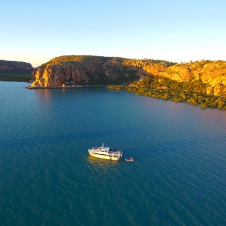 kimberley pearl anchored drone shot